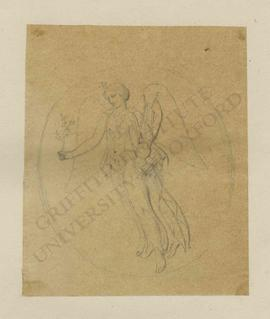 Tondo design of winged female figure (perhaps Nike or Muse) with star on her forehead and holding...
