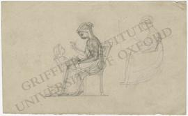 Seated woman with standing little girl