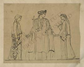 Three female figures with lyres