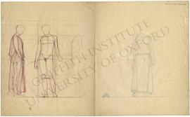 Frontal view of nude standing male figure with sketched peplos, with sketch of nude left profile ...