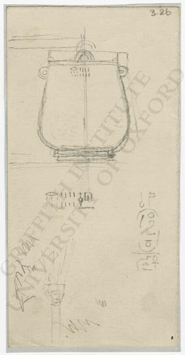 [Upper left] sketch of inscribed metal vase, with copy of inscription, not identified; [lower lef...