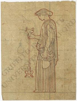 Woman holding ewer and lamp (outline)