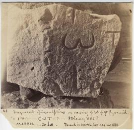 [46] Fragment of inscriptions on casing of W. of Gt Pyramid.