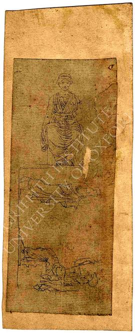 Sketches of seated woman (frontal view) and standing male figure conversing with seated female fi...