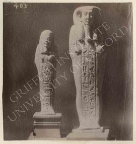 [Left] Ushabti, not identified, now in Bologna, Museo Civico Archeologico; [right] Ushabti of Har...