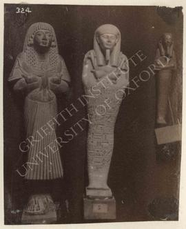 [Left] Unnamed ushabti, provenance not known, now in Turin, Museo Egizio; [middle] ushabti of Nek...