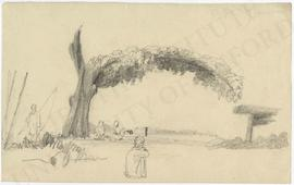 Large bending tree with four figures