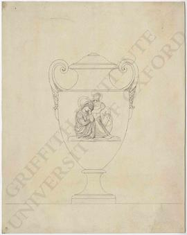 Urn design with mourning woman and armour