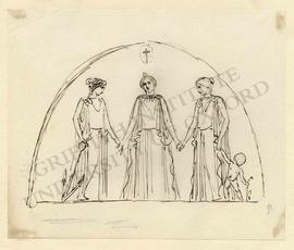 Semi-circular design of scene from the life of Christ, with three women and child holding hands b...