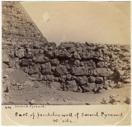 [404] Part of peribolus wall of Second Pyramid W. side.
