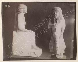 [Left] Seated statue of Mersu, 1st half of Dyn. XVIII, provenance not known, now in Turin, Museo ...