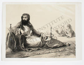 Egypt, desert campsite, memorial portrait of George Lloyd by É. Prisse d'Avennes
