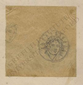 Sketch of male head and obverse of ancient Greek coin with radiate head of Helios