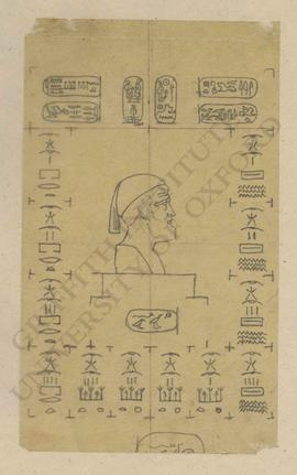 Composition with Classical(?) bust surrounded by Egyptian royal cartouches (Sesonchis, Alexander,...