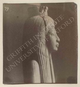 Head of a statuette of Ahmosi Nefertere in a cloak, dedicated by Wadjmosi, wood, from Deir el-Med...