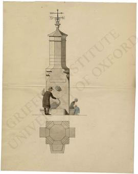 Design of drinking fountain with weather vane (elevation and plan)