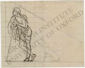 Pediment design of man leaning on stick with dog in grid