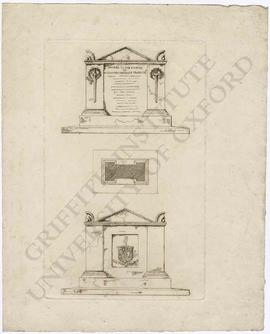 Lithograph of memorial design (front, plan and back) to Alexander MacKenzie Fraser Esq.