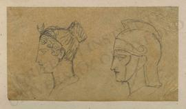 Profile view of heads of Selene/Luna and Hermes/Mercurius
