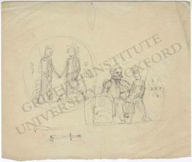 Tondo designs of Britannia welcoming Minerva and of seated man with child on his lap