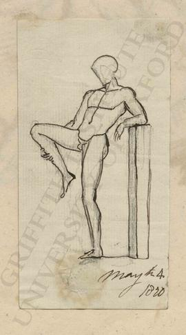 Standing male nude stretching leg