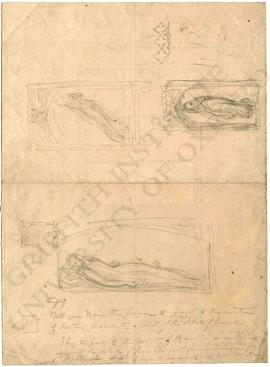 Sketches of funerary memorials with female figures