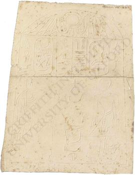 Egypt. Abydos. Stela of King Wepwautemsaf (Sekhemreneferkhau) before Wepwaut-re, Dyn. XIV, now in...