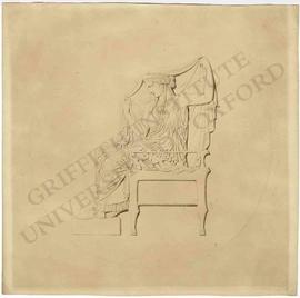 Seated woman holding bridal veil