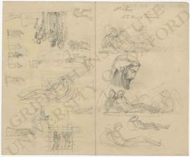 Various designs including reclining figure of Christ with angels