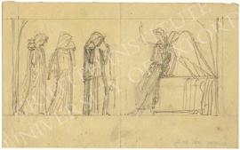 Angel and three cloaked, hooded female figures
