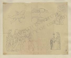 Various sketches, including cherub, Britannia welcoming Minerva, female figure (probably Muse) pl...