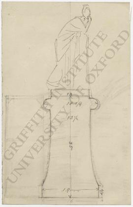 Design and measurements for monumental statue on pedestal