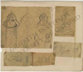 Various sketches of memorials with busts, kneeling woman, base of Egyptian statue with bows and f...