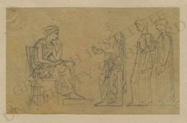 Three standing women presenting objects (including building and statue models) to seated female s...