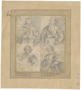 Four portraits of personalities from Antwerp originally by Antoon van Dyck, copied from engraving...