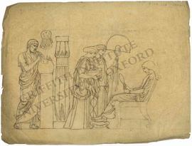Seated woman attended by two standing women and man using compasses (probably Eratosthenes estima...