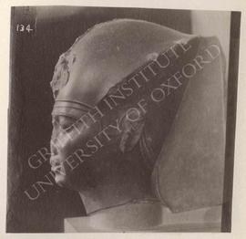Head of probably Apries, formerly attributed to Haremhab(?), black basalt, provenance not known, ...