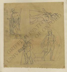 Man knocking at door, putto or Cupid with shepherd's crook and Phrygian cap, and shepherd holding...