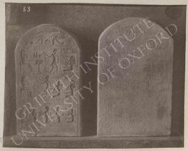 [Left] Stela of Iatu, late Dyn. XII to XIII, provenance not known, now in Florence, Museo Archeol...