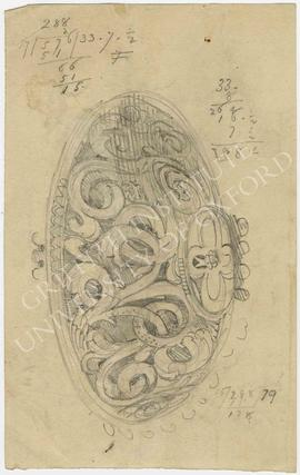 Sketch of ceiling boss (?) with elaborate floral decoration, and calculations