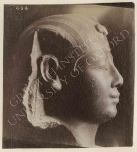 Head of a royal statue wearing a nemes, green schist, early Ptolemaic, provenance not known, now ...