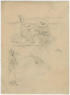 Two figures on a boat, standing figure and profile of dog's head