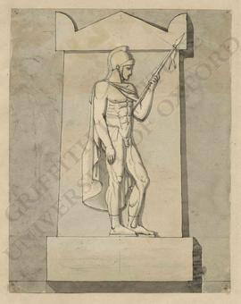 Memorial design with nude Roman soldier with spear, cloak and helmet