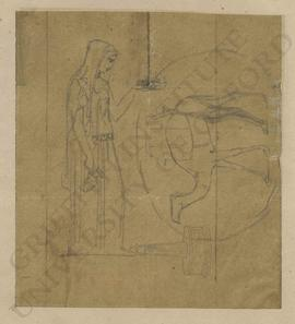 Sketches of woman holding ewer and lamp, camel and ornamental/commemorative column