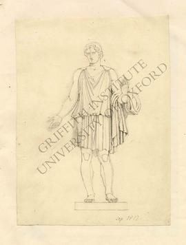 Free-standing sculpture of youth in tunic, partially erased study of right hand on left