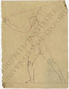 Rear view of male nude with stick (probably design for pediment)