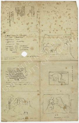Four sketches of view and reliefs from a Roman tomb in Ghineh, near Ghazir (Lebanon), copy of a G...
