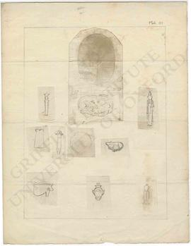 Two squeezes and nine sketches of Egyptian amulets in Dr Lee's collection