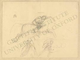 Sketches of rider on horseback, angel, and warrior