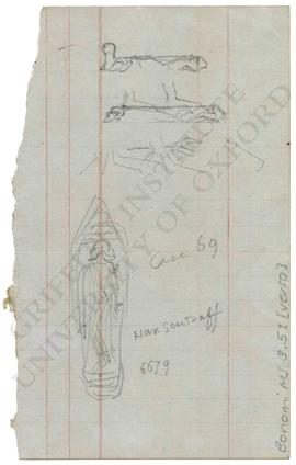 [Upper] Three sketches of feet trampling enemies. [Lower] Sketch of sandal with bound captive on ...